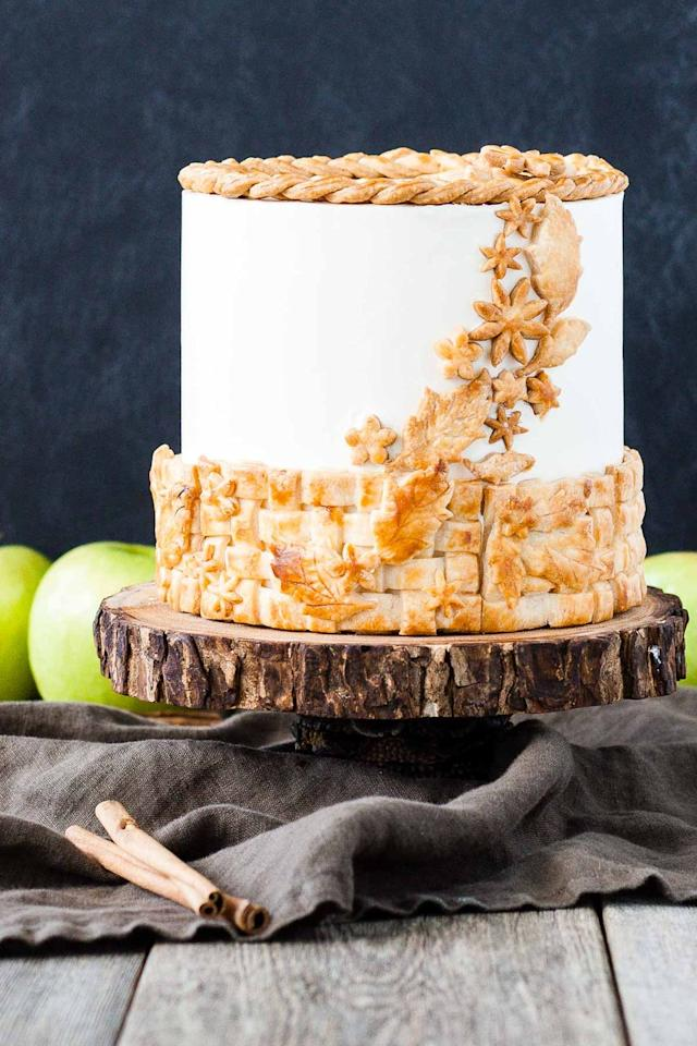 "<p>Can't decide whether to bake an apple pie or a cake this year? With this mashup, you can have both. It's made with cinnamon brown sugar cake, apple pie filling, and a vanilla buttercream frosting. </p><p><strong>Get the recipe at <a href=""https://livforcake.com/apple-pie-cake/"" target=""_blank"">Liv for Cake</a>.</strong></p><p><strong><a class=""body-btn-link"" href=""https://go.redirectingat.com?id=74968X1596630&url=https%3A%2F%2Fwww.walmart.com%2Fip%2FHamilton-Beach-Classic-Hand-and-Stand-Mixer-Red-Model-64654%2F37531908&sref=http%3A%2F%2Fwww.countryliving.com%2Ffood-drinks%2Fg4716%2Fthanksgiving-cakes%2F"" target=""_blank"">SHOP STAND MIXERS</a><br></strong></p>"