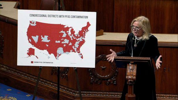 PHOTO: Rep. Debbie Dingell speaks on the House floor about lack of action around 'forever chemicals' or PFAS during the debate over a bill that would regulate them in drinking water. (ABC News)