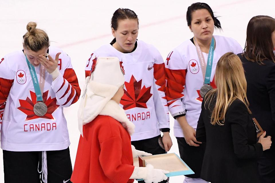 <p>Jocelyne Larocque #3 of Canada refuses to wear her silver medal after losing to the United States in the Women's Gold Medal Game on day thirteen of the PyeongChang 2018 Winter Olympic Games at Gangneung Hockey Centre on February 22, 2018 in Gangneung, South Korea. (Photo by Harry How/Getty Images) </p>