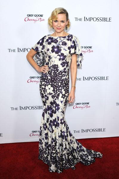 <b>Naomi Watts </b><br><br>The Impossible actress worked the winter florals trend in this Zac Posen Resort 2013 gown.<br><br>© Rex