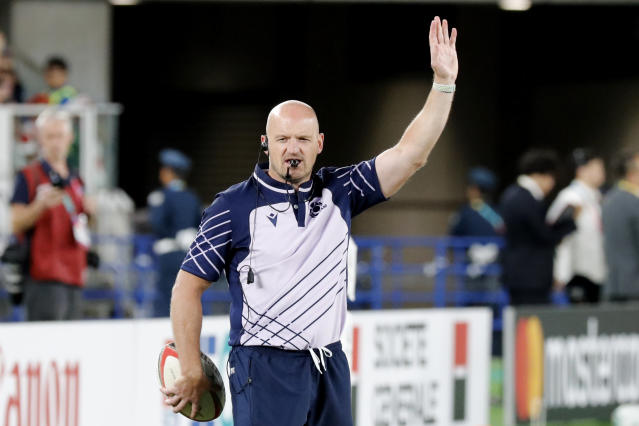 Scotland coach Gregor Townsend gestures, ahead of the Rugby World Cup Pool A game at International Stadium between Japan and Scotland in Yokohama, Japan, Sunday, Oct. 13, 2019. (AP Photo/Eugene Hoshiko)