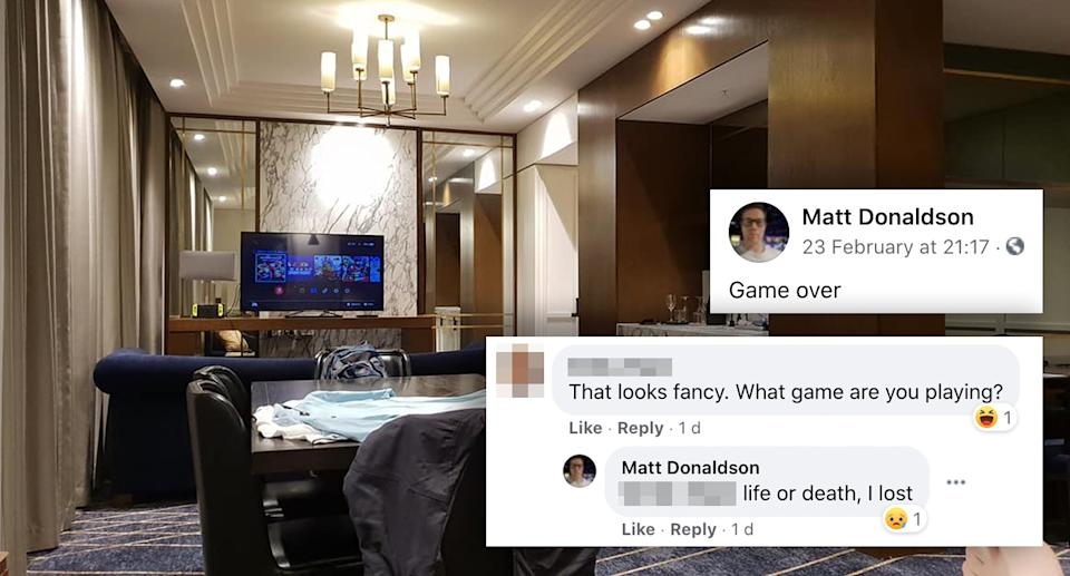 An alleged exchange Donaldson had on Facebook after sharing images of his hotel room. Source: Facebook
