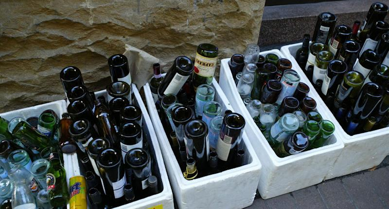 Glass bottles pictured as Australia agrees on waste export plan which will see glass to be the first banned.