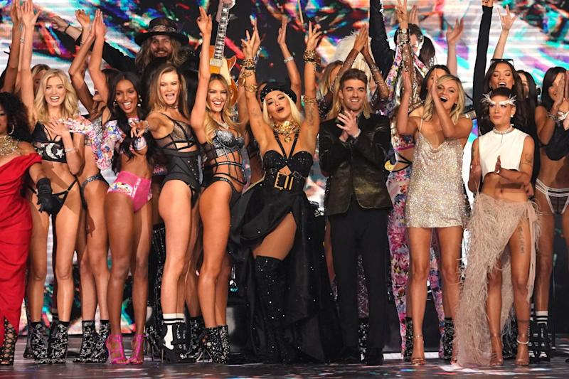 Performers and models on the runway at the 2018 Victoria's Secret Fashion Show on November 8: AFP/Getty Images