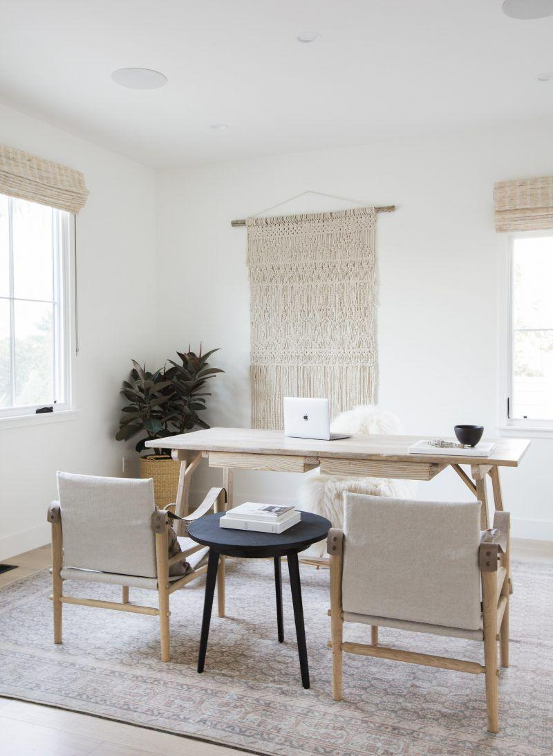"""<p><a href=""""https://www.housebeautiful.com/design-inspiration/a23279654/what-is-minimalism/"""" rel=""""nofollow noopener"""" target=""""_blank"""" data-ylk=""""slk:Minimalism"""" class=""""link rapid-noclick-resp"""">Minimalism</a> is so hot right now. Keep your desk clutter-free, add in simple furniture (like these reclaimed wood chairs and desk), keep a neutral color palette, and watch how inspired you'll be to actually do your work. If you need to warm things up—so it doesn't look bland and sterile—add a plant or macramé wall hanging.</p><p>See more at <a href=""""http://amberinteriordesign.com/projects/client-holla-at-la-jolla/"""" rel=""""nofollow noopener"""" target=""""_blank"""" data-ylk=""""slk:Amber Interiors"""" class=""""link rapid-noclick-resp"""">Amber Interiors</a>.</p>"""