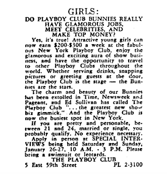 The job listing for the Playboy Club that Gloria Steinem answered in 1963. (Show Magazine 1963)