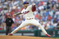 Philadelphia Phillies starting pitcher Vince Velasquez (21) throws during the first inning of a baseball game against the New York Yankees, Saturday, June 12, 2021, in Philadelphia. (AP Photo/Laurence Kesterson)