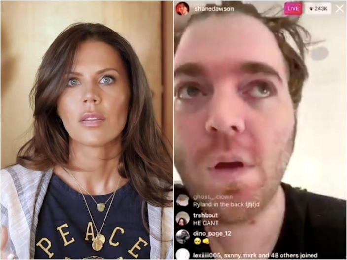 Former friends Tati Westbrook and Shane Dawson.