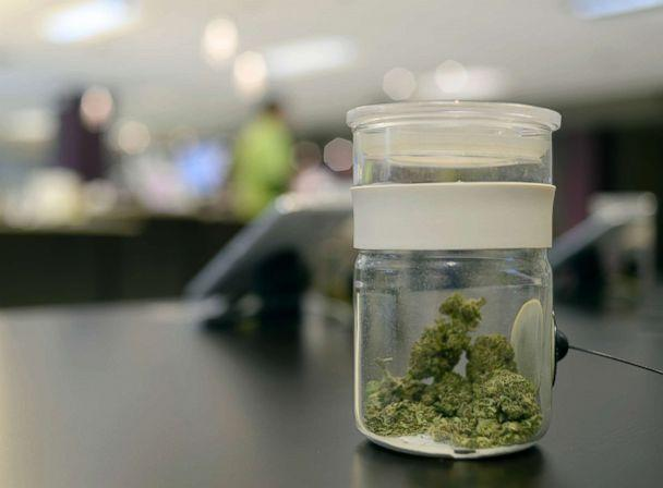 PHOTO: A sample of marijuana is in a jar at Euflora Dispensary in Denver, March 11, 2015. (Denver Post via Getty Images, FILE)
