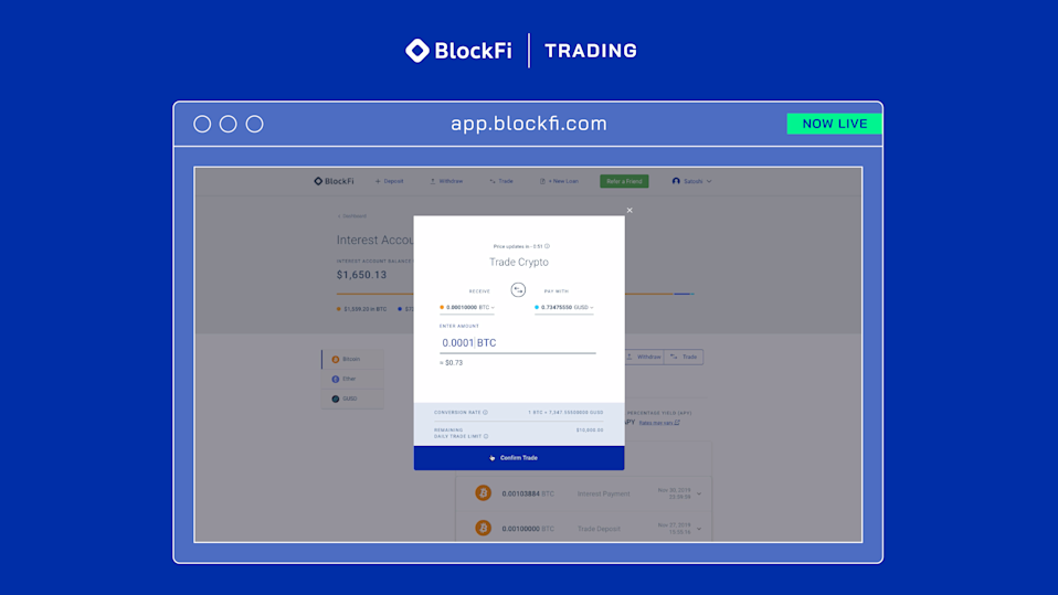 BlockFi offers zero-fee cryptocurrency trading on its platform. (Credit: BlockFi)