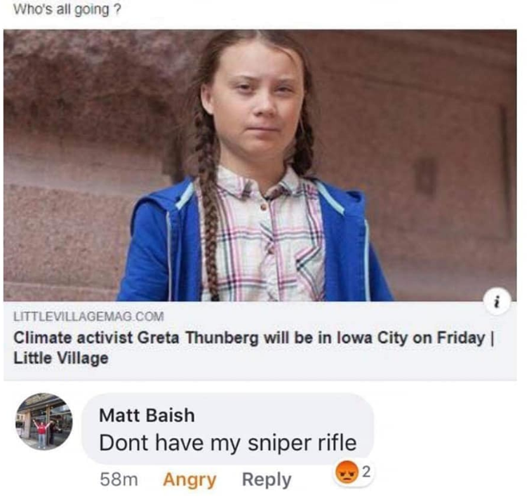 A screenshot of a Facebook post shows a comment former Waterloo West High School teacher Matt Baish made about teenage climate activist Greta Thunberg's visit to Iowa.