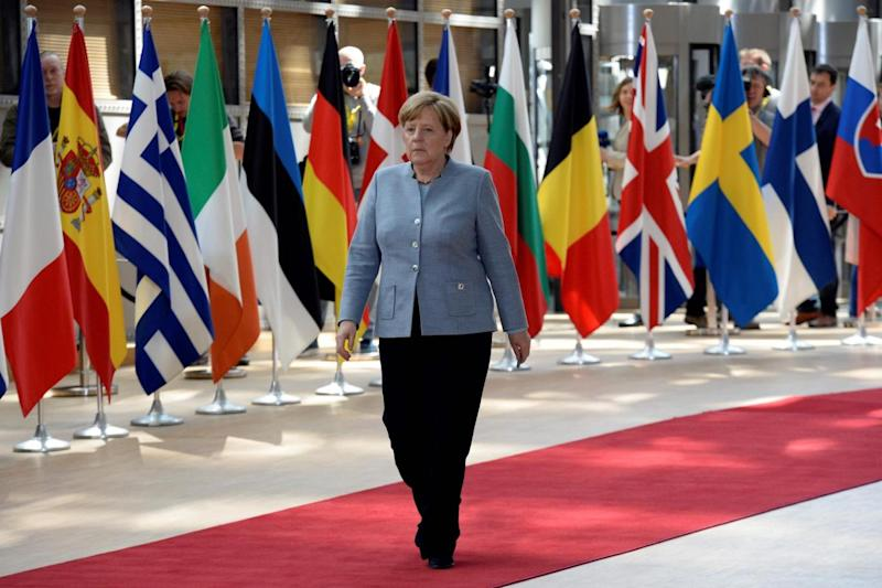 Chancellor: Angela Merkel arrives to take part in the EU leaders summit (AFP/Getty Images)