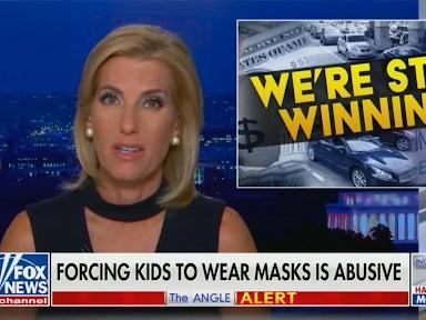 <p>Fox News' Laura Ingraham on Monday called it 'anti-science and abusive to force children to wear masks at playgrounds'</p> (Fox News)