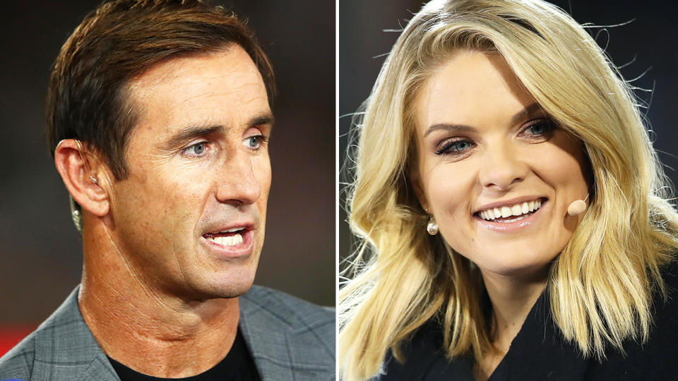 Andrew Johns and Erin Molan, pictured here working for Channel Nine.