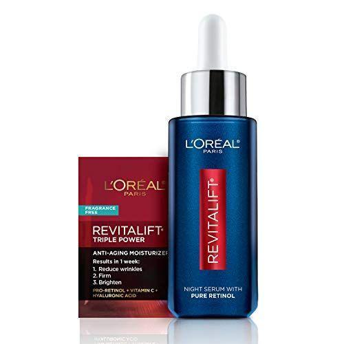 """<p><strong>L'Oreal Paris</strong></p><p>amazon.com</p><p><strong>$28.92</strong></p><p><a href=""""https://www.amazon.com/LOreal-Paris-Revitalift-Intensives-Moisturizer/dp/B08C5PHRM1?tag=syn-yahoo-20&ascsubtag=%5Bartid%7C10058.g.35218066%5Bsrc%7Cyahoo-us"""" rel=""""nofollow noopener"""" target=""""_blank"""" data-ylk=""""slk:SHOP IT"""" class=""""link rapid-noclick-resp"""">SHOP IT </a></p><p>Retinol is king when it comes to reversing signs of aging and skin damage, and we love a steal. L'Oréal Paris' serum will perk up skin overnight without breaking the bank. </p>"""