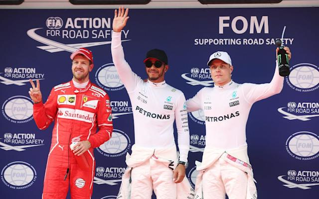 Sebastion Vettel, Lewis Hamilton and Valtteri Bottas after Chinese Grand Prix qualification - Rex Features