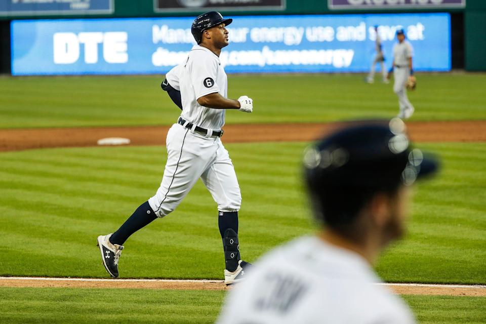 Detroit Tigers second baseman Jonathan Schoop runs towards the home plate after hitting a two-run home run against Kansas City Royals during the fifth inning at Comerica Park in Detroit, Wednesday, July 29, 2020.