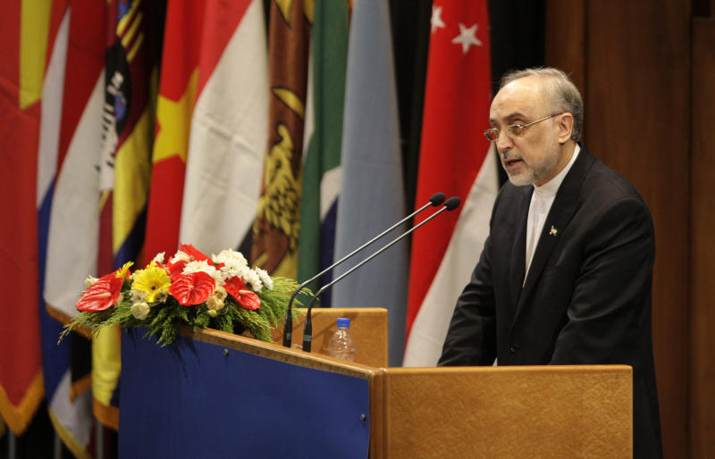 Iranian Foreign Minister Ali Akbar Salehi delivers a speech to an expert-level meeting of the Non-Aligned Movement, NAM, in Tehran, Iran, Sunday, Aug. 26, 2012. Iran opened a world gathering of self-described nonaligned nations Sunday with a slap at the vast powers of the U.N. Security Council and an appeal to rid the world of nuclear weapons even as Tehran faces Western suspicions that it is seeking its own atomic arms. Iran seeks to use the weeklong gathering -- capped by a two-day summit of various leaders -- as a showcase of its global ties and efforts to challenge the influence of the West and its allies. (AP Photo/Vahid Salemi)