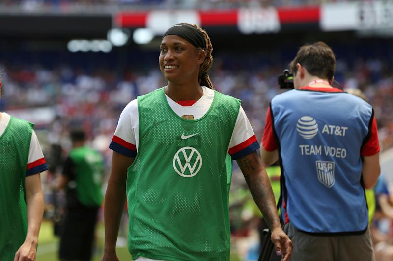 United States forward Jessica McDonald warms up on the sidelines during the second half of an international friendly soccer match against Mexico, Sunday, May 26, 2019, in Harrison, N.J. The U.S. won 3-0. (AP Photo/Steve Luciano)