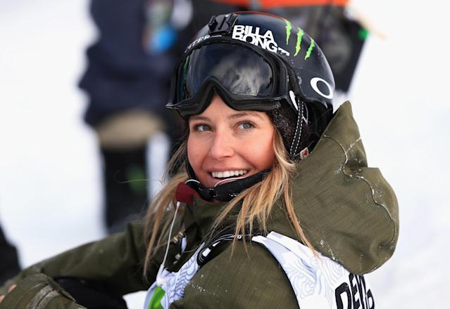BRECKENRIDGE, CO - DECEMBER 13: Jamie Anderson looks on as she wins the women's snowboard slopestyle at the Dew Tour iON Mountain Championships on December 13, 2013 in Breckenridge, Colorado. (Photo by Doug Pensinger/Getty Images)