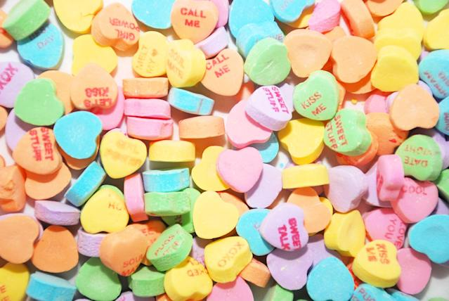 Conversation hearts are in many ways a symbol of Valentine's Day. (jahcottontail143 via Getty Images)