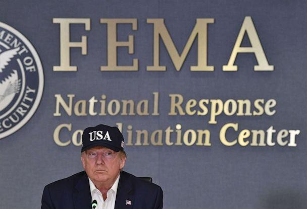 PHOTO: President Donald Trump receives a briefing at the Federal Emergency Management Administration (FEMA) on Hurricane Dorian in Washington, D.C., on Sept. 1, 2019. (Nicholas Kamm/AFP/Getty Images)