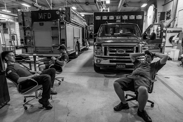 """<p>Middletown fire fighters between calls. """"This is a small town with big city problems,"""" says one. (Photograph by Mary F. Calvert for Yahoo News) </p>"""