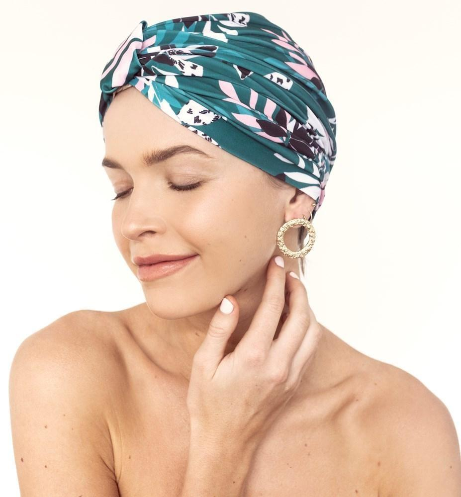 <p><span>Louvelle Amelie Shower Cap in Alpine Flowers</span> ($40)</p>