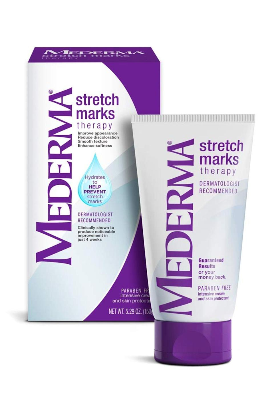 """<p><strong>Mederma</strong></p><p>amazon.com</p><p><strong>$52.00</strong></p><p><a href=""""http://www.amazon.com/dp/B002ZG94UY/?tag=syn-yahoo-20&ascsubtag=%5Bartid%7C10049.g.23323942%5Bsrc%7Cyahoo-us"""" rel=""""nofollow noopener"""" target=""""_blank"""" data-ylk=""""slk:Shop Now"""" class=""""link rapid-noclick-resp"""">Shop Now</a></p><p>A favorite brand for scars of all kinds, Mederma has a cream designed specially to tackle stretch marks, thanks to the active ingredient <a href=""""https://www.cosmopolitan.com/style-beauty/beauty/a32891698/what-is-dimethicone-for-skin/"""" rel=""""nofollow noopener"""" target=""""_blank"""" data-ylk=""""slk:dimethicone"""" class=""""link rapid-noclick-resp"""">dimethicone</a> (a silicone) and hyaluronic acid, both of which have been shown to improve or reduce the appearance of stretch marks, according to Dr. Rabach. <strong>When stretch marks are brand new, they're more responsive to topical treatments, </strong>so give this stretch mark cream a try as soon as you notice new streaks.</p>"""