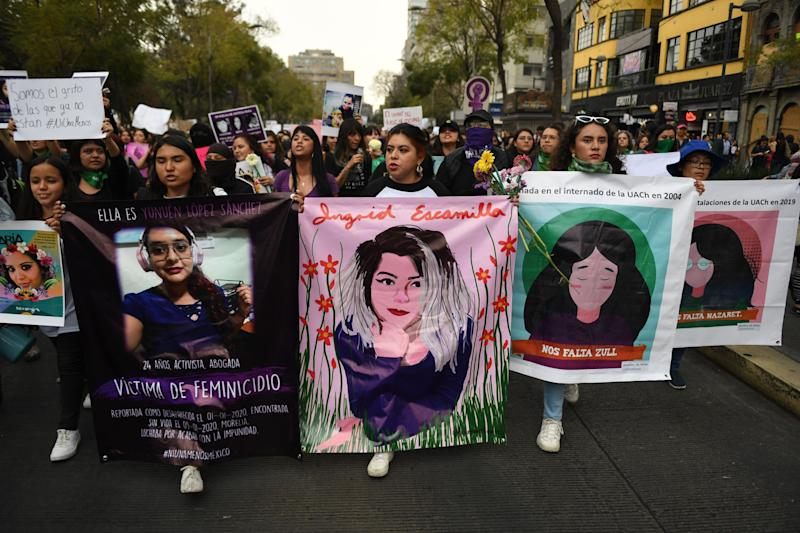 Women march in Mexico City, on February 14, 2020, during a protest against gender violence. - Several protests convened on Friday in the Mexican capital and other cities of the country after the murder of Ingrid Escamilla, 25, stabbed to death and then skinned by her partner in the north of Mexico City on February 9. (Photo by PEDRO PARDO / AFP) (Photo by PEDRO PARDO/AFP via Getty Images)