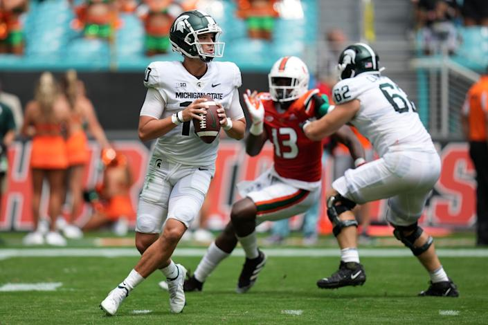 Michigan State Spartans quarterback Payton Thorne looks to pass during the first half against the Miami Hurricanes at Hard Rock Stadium, Saturday, Sept. 18, 2021, in Miami Gardens, Fla.