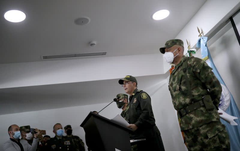Colombia's National Police Director General Jorge Luis Vargas speaks about the assassination of Haitian President Jovenel Moise, in Bogota