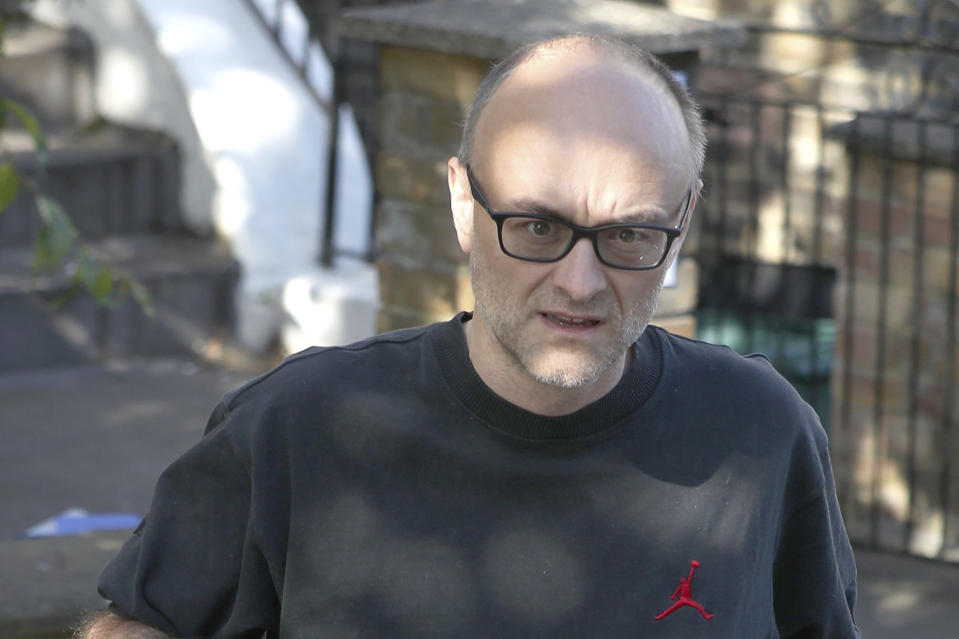 Dominic Cummings, top aide to British Prime Minister Boris Johnson, leaves his north London home as the row over his trip to Durham during lockdown continues Friday May 29, 2020. (Yui Mok/PA via AP)