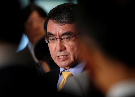 Japanese Foreign Minister Taro Kono speaks to media after a meeting with South Korean ambassador to Japan Lee Su-hoon in Tokyo