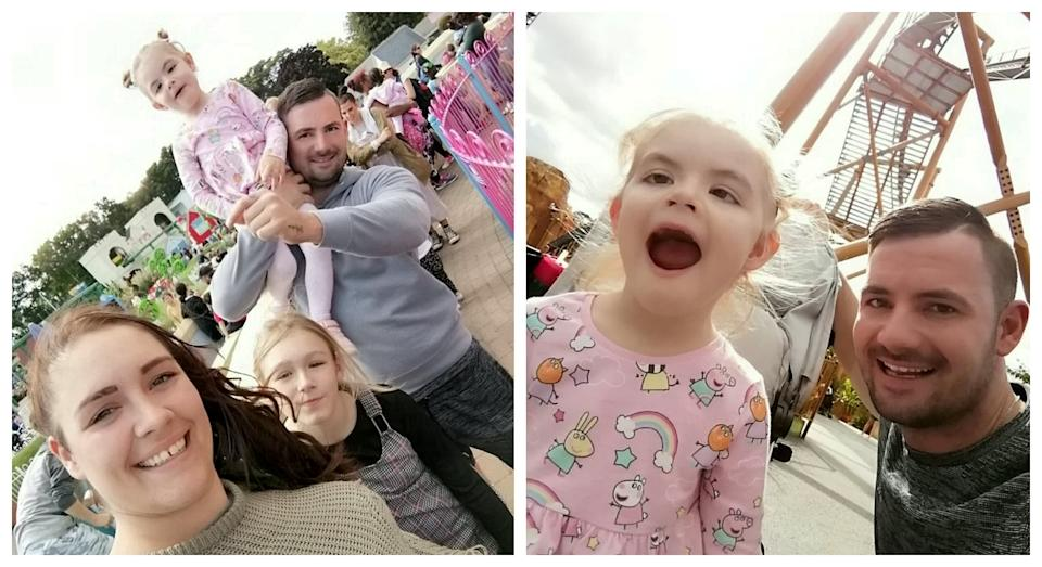Lola Sheldon (pictured here with her mum Carly, sister Brooke and dad Luke) had to be taken to hospital after a trip to Peppa Pig World (SWNS)