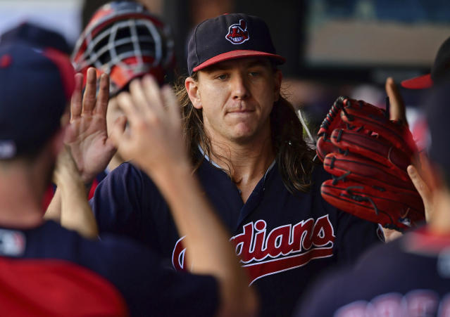 """<a class=""""link rapid-noclick-resp"""" href=""""/mlb/teams/cle"""" data-ylk=""""slk:Cleveland Indians"""">Cleveland Indians</a> starting pitcher <a class=""""link rapid-noclick-resp"""" href=""""/mlb/players/10296/"""" data-ylk=""""slk:Mike Clevinger"""">Mike Clevinger</a> recorded his 200th strikeout of the season on Saturday night against the <a class=""""link rapid-noclick-resp"""" href=""""/mlb/teams/bos"""" data-ylk=""""slk:Boston Red Sox"""">Boston Red Sox</a>. (AP Photo/David Dermer)"""