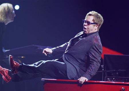 British musician Elton John performs during the iHeartRadio Music Festival at the MGM Grand Garden Arena in Las Vegas, Nevada
