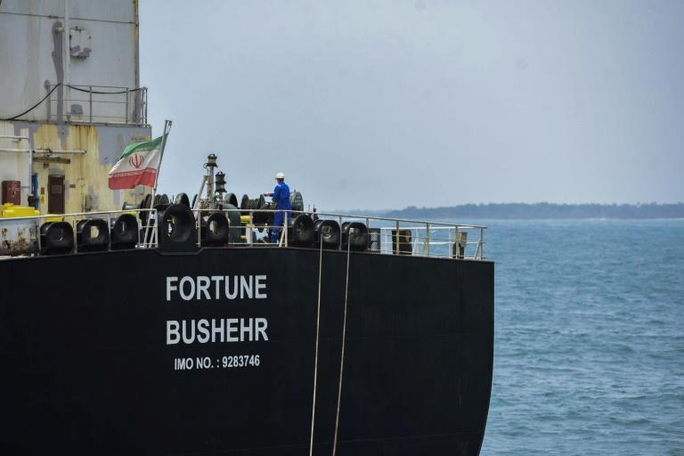 The Iranian-flagged oil tanker Fortune docks at El Palito refinery in Venezuela's northern state of Carabobo, on May 25, 2020