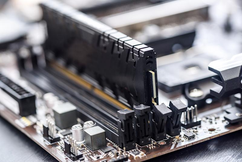 A stick of DRAM in a PC motherboard.