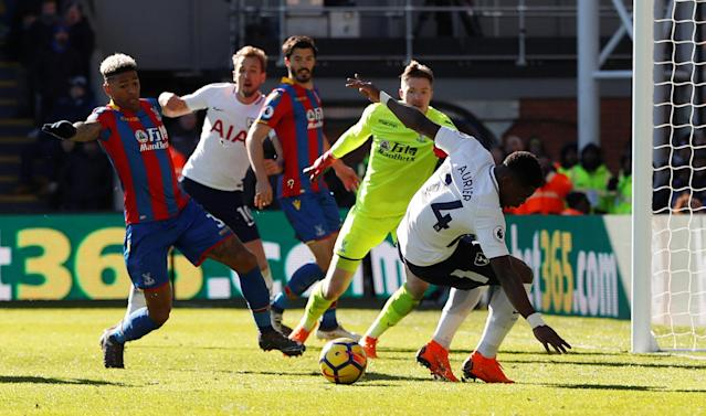 "Soccer Football - Premier League - Crystal Palace vs Tottenham Hotspur - Selhurst Park, London, Britain - February 25, 2018 Tottenham's Serge Aurier misses a chance to score Action Images via Reuters/Paul Childs EDITORIAL USE ONLY. No use with unauthorized audio, video, data, fixture lists, club/league logos or ""live"" services. Online in-match use limited to 75 images, no video emulation. No use in betting, games or single club/league/player publications. Please contact your account representative for further details."
