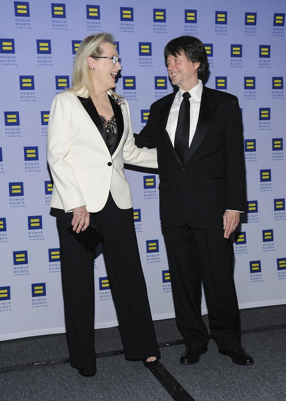 Meryl Streep, left, and Ken Burns attend the Human Rights Campaign Greater New York Gala at Waldorf Astoria Hotel on Saturday, Feb. 11, 2017, in New York. (Photo by Christopher Smith/Invision/AP)