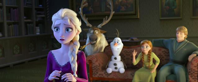 Elsa, Sven, Olaf, Anna and Kristoff are back for more adventures in <em>Frozen 2</em>. (Photo: Walt Disney Studios Motion Pictures / courtesy Everett Collection)