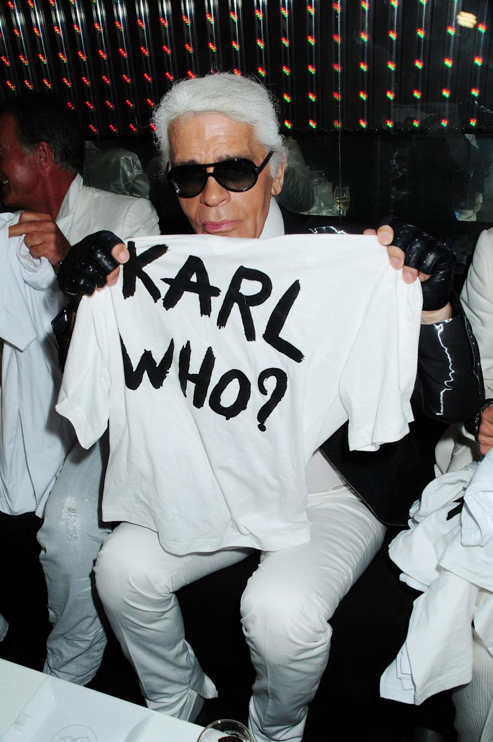 <p>Famed for his sense of humour, the designer released 'Karl Who?' t-shirts back in 2009. <em>[Photo: Getty]</em> </p>