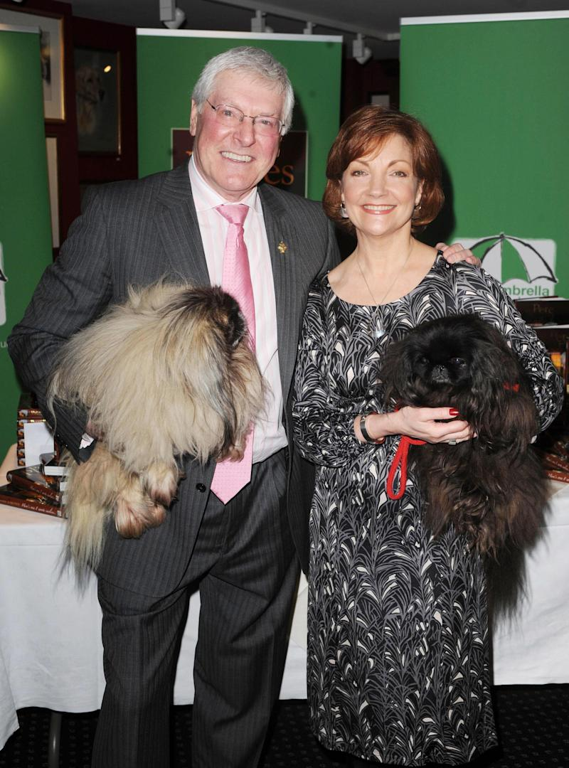 Blue Peter and Crufts legend Peter Purves and wife Kathryn Evans attend a party to promote Peter's autobiography, Here's One I wrote Earlier, at the Kennel Club in central London.