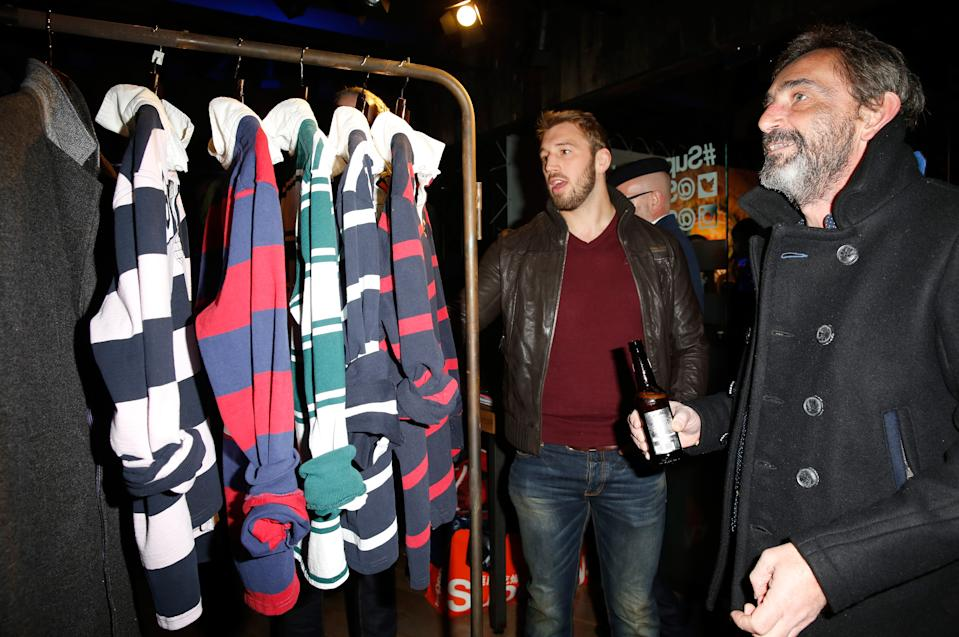 LONDON, ENGLAND - JANUARY 08:  Chris Robshaw, wearing Superdry and Julian Dunkerton, founder, product and brand director of Superdry attend the Superdry and British Fashion Council London Collections: Men Official Launch Event at Superdry on January 8, 2015 in London, England.  (Photo by Tristan Fewings/Getty Images for Superdry)