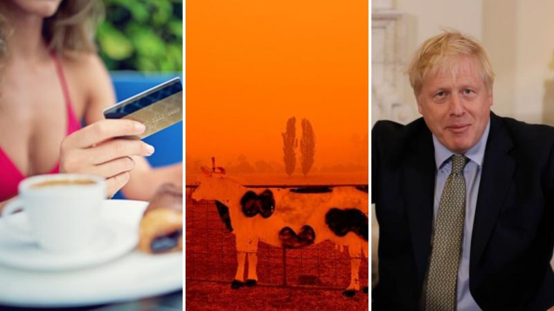 Woman using credit card, a cow in red bushfire skies and Boris Johnson.