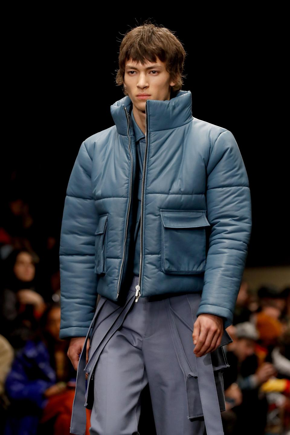 Rhude's sportswear wardrobe, which featured cargo pants and functional quilted jackets, was also offered in a range of colors from blue to pink. Paris, January 14, 2020.