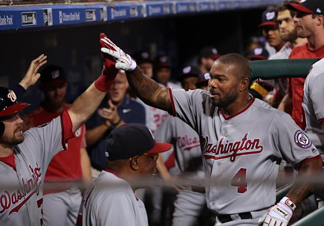 "<a class=""link rapid-noclick-resp"" href=""/mlb/players/7746/"" data-ylk=""slk:Howie Kendrick"">Howie Kendrick</a> (R) is a versatile and valuable bench player. (Getty Images)"