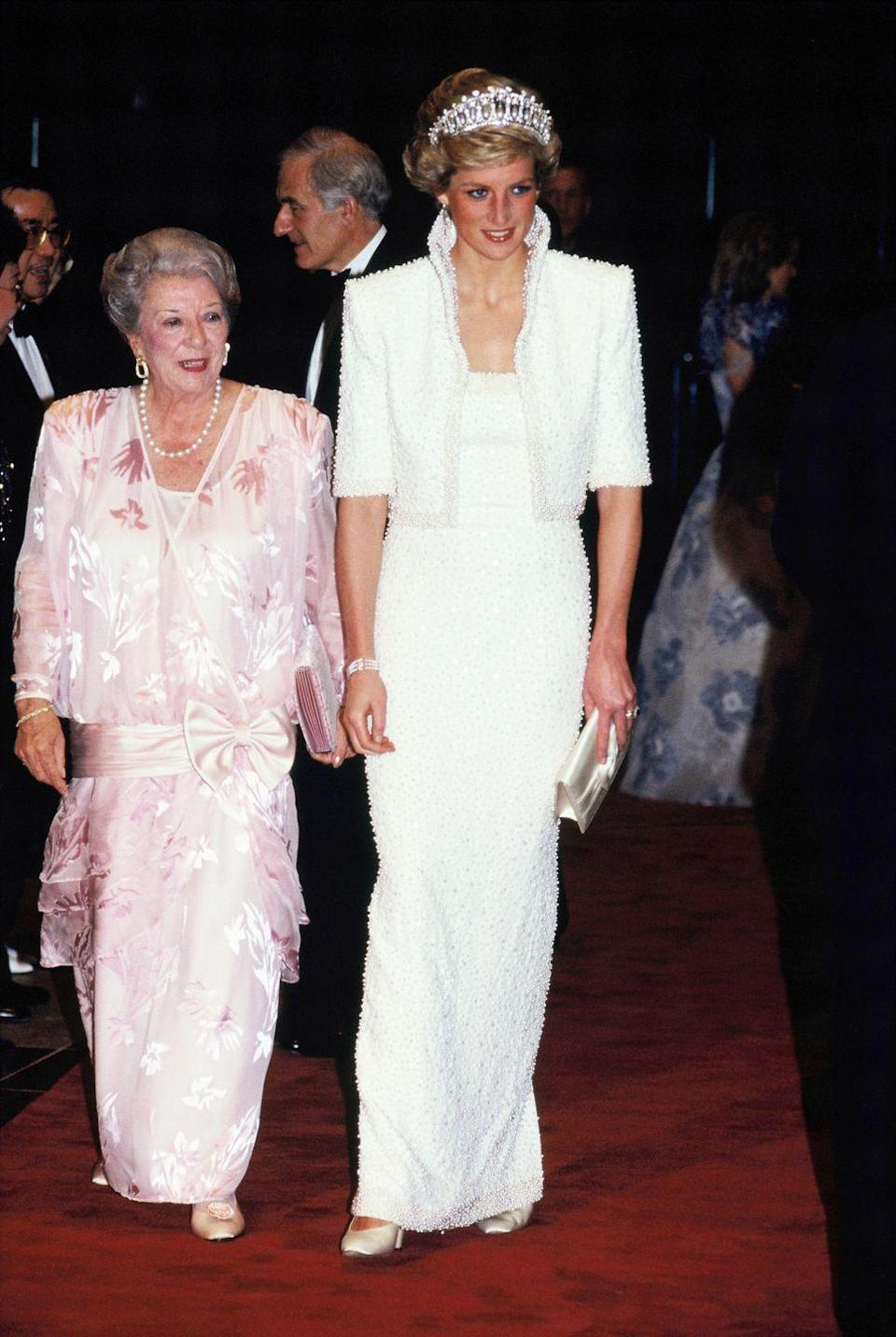 "<p>Ah, the ""Elvis dress,"" designed by Catherine Walker.</p>"