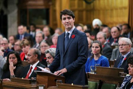 Canada's Prime Minister Justin Trudeau delivers a formal apology over the fate of the MS St. Louis and its passengers, in the House of Commons on Parliament Hill in Ottawa, Ontario, Canada November 7, 2018. REUTERS/Chris Wattie